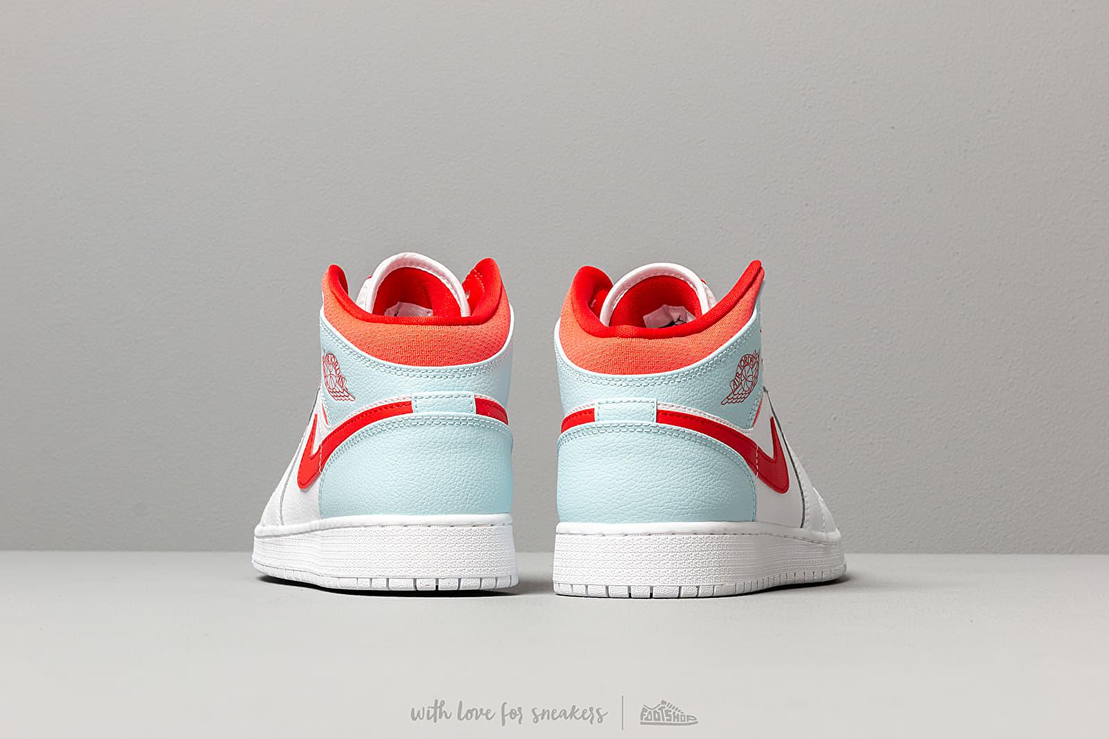 Air Jordan 1 Mid (GS) White University Red Topaz Mist | Footshop