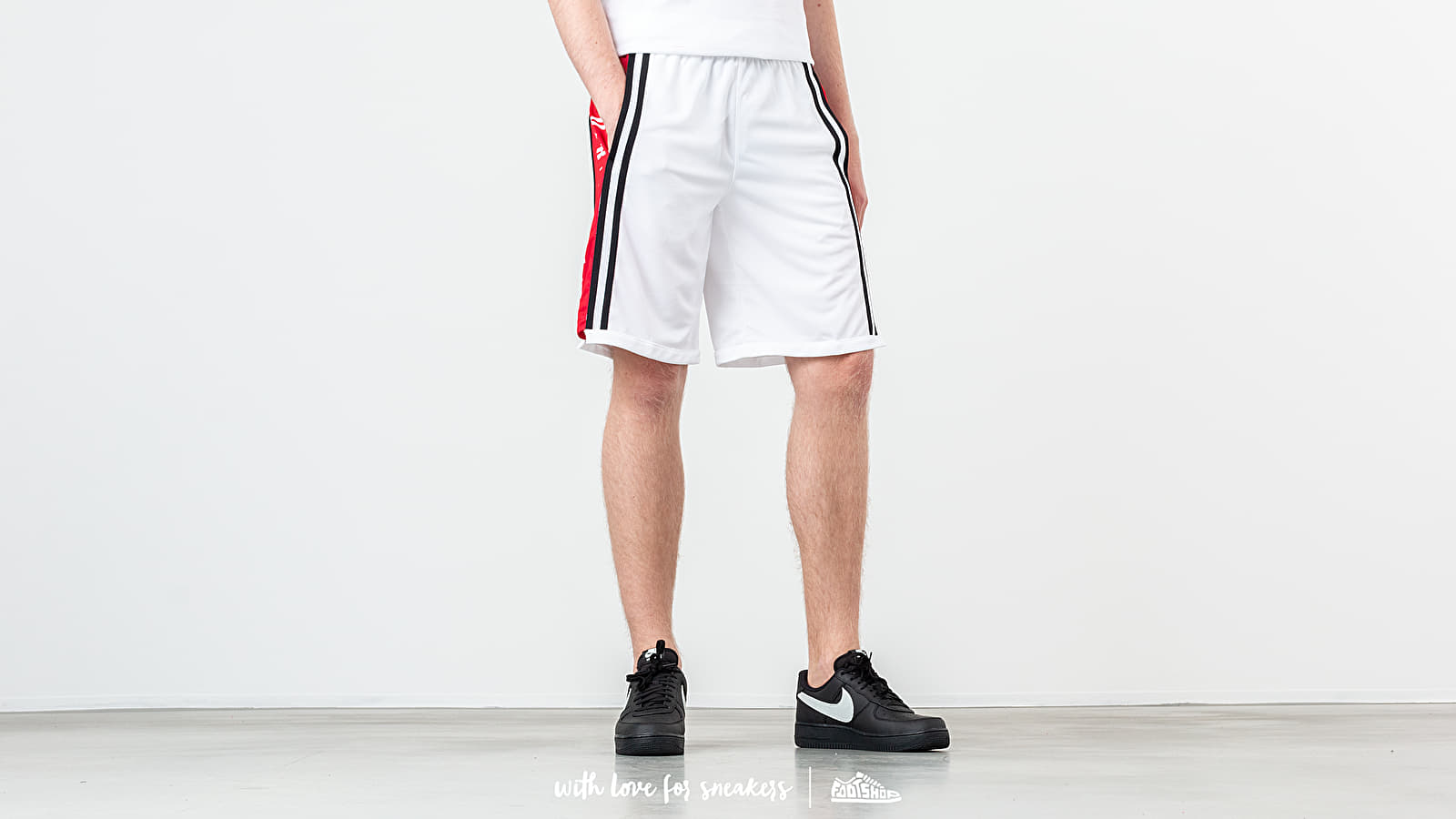 Šortky Jordan Hybrid Basketball Shorts White/ Gym Red/ Black