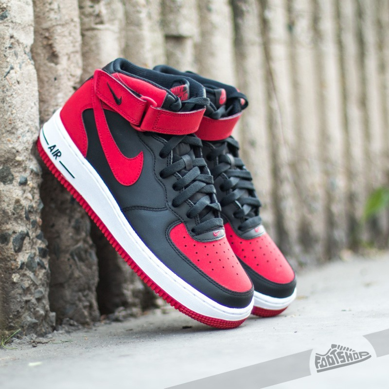 nike air force 1 mid white black-gym red
