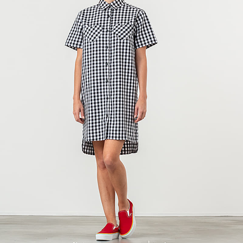 Lazy Oaf Gingham Heart Shirt Dress Black White