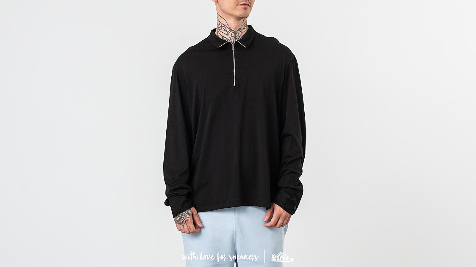 Trička Our Legacy Zip Polo Long Sleeve Tee Washed Black