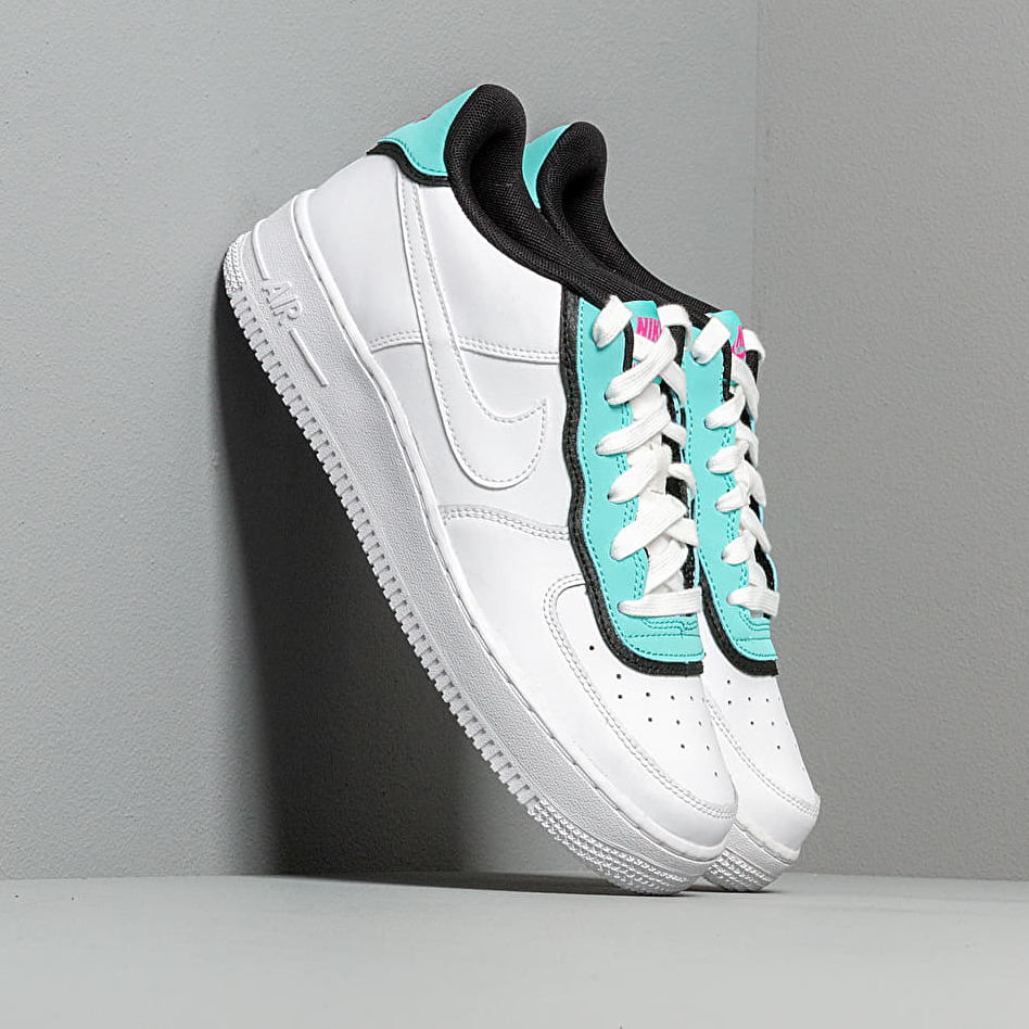 Nike Air Force 1 LV8 1 Double GS White/ White-Light Aqua-Black EUR 36.5