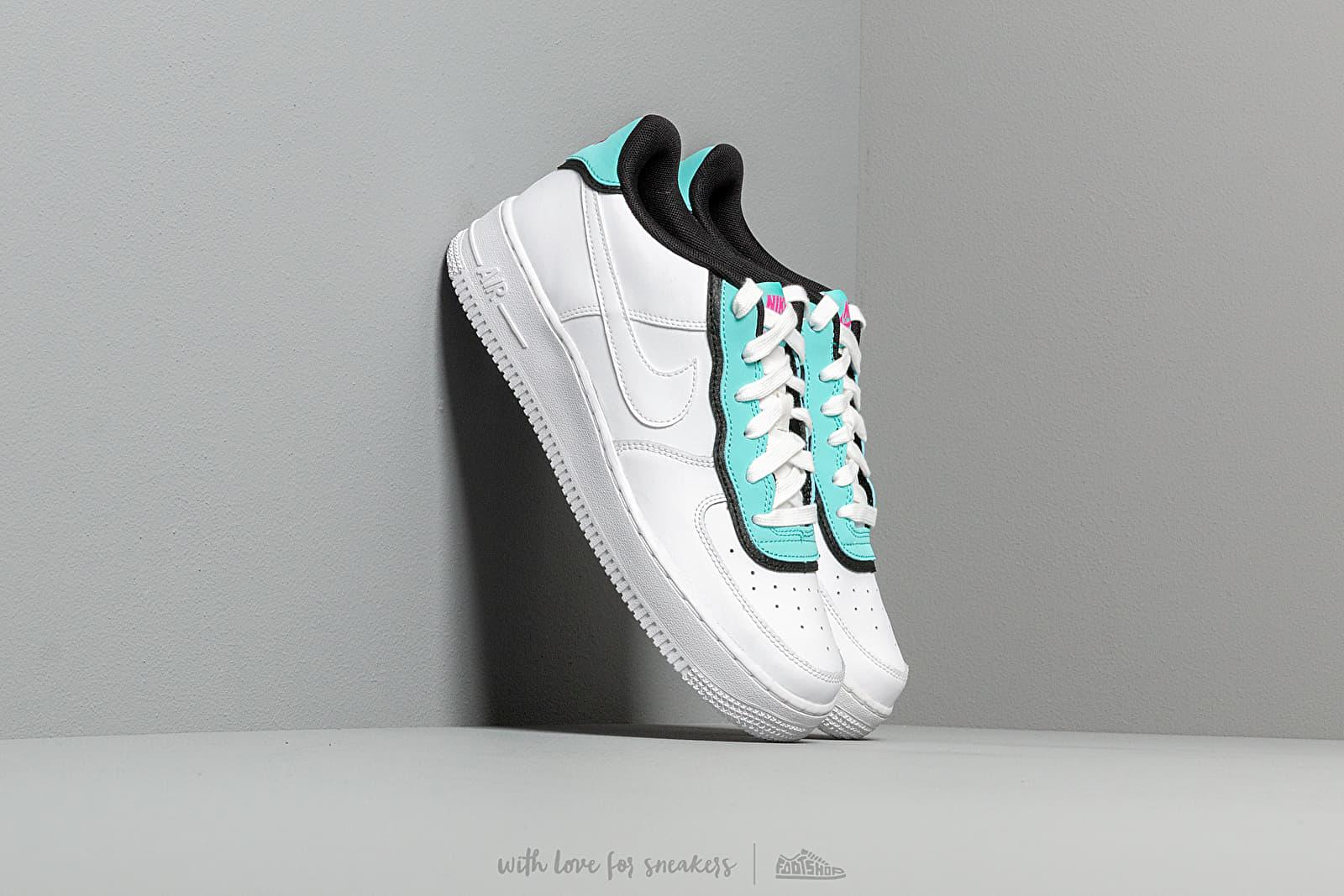 Nike Air Force 1 LV8 1 Double GS White/ White-Light Aqua-Black za skvělou cenu 2 190 Kč koupíte na Footshop.cz