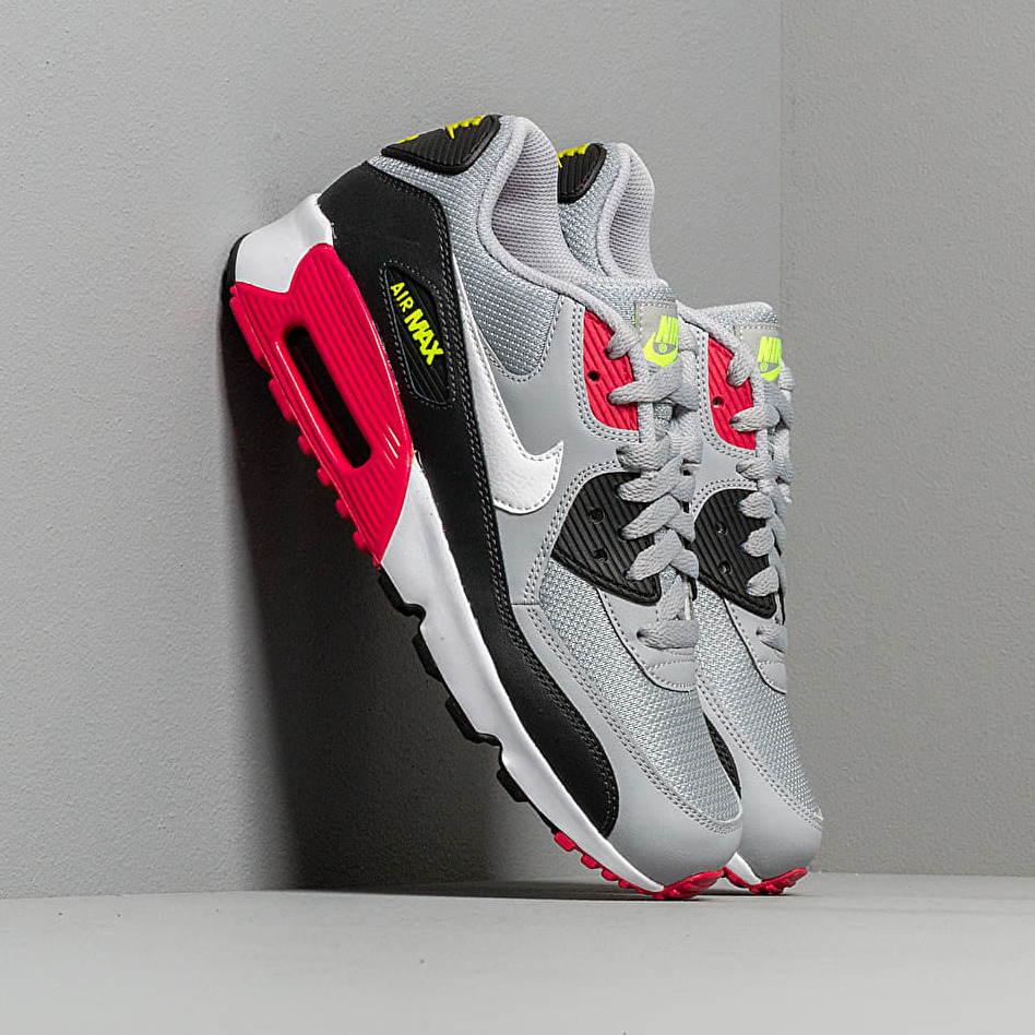 Nike Air Max 90 Mesh (GS) Wolf Grey/ White-Rush Pink-Volt EUR 40