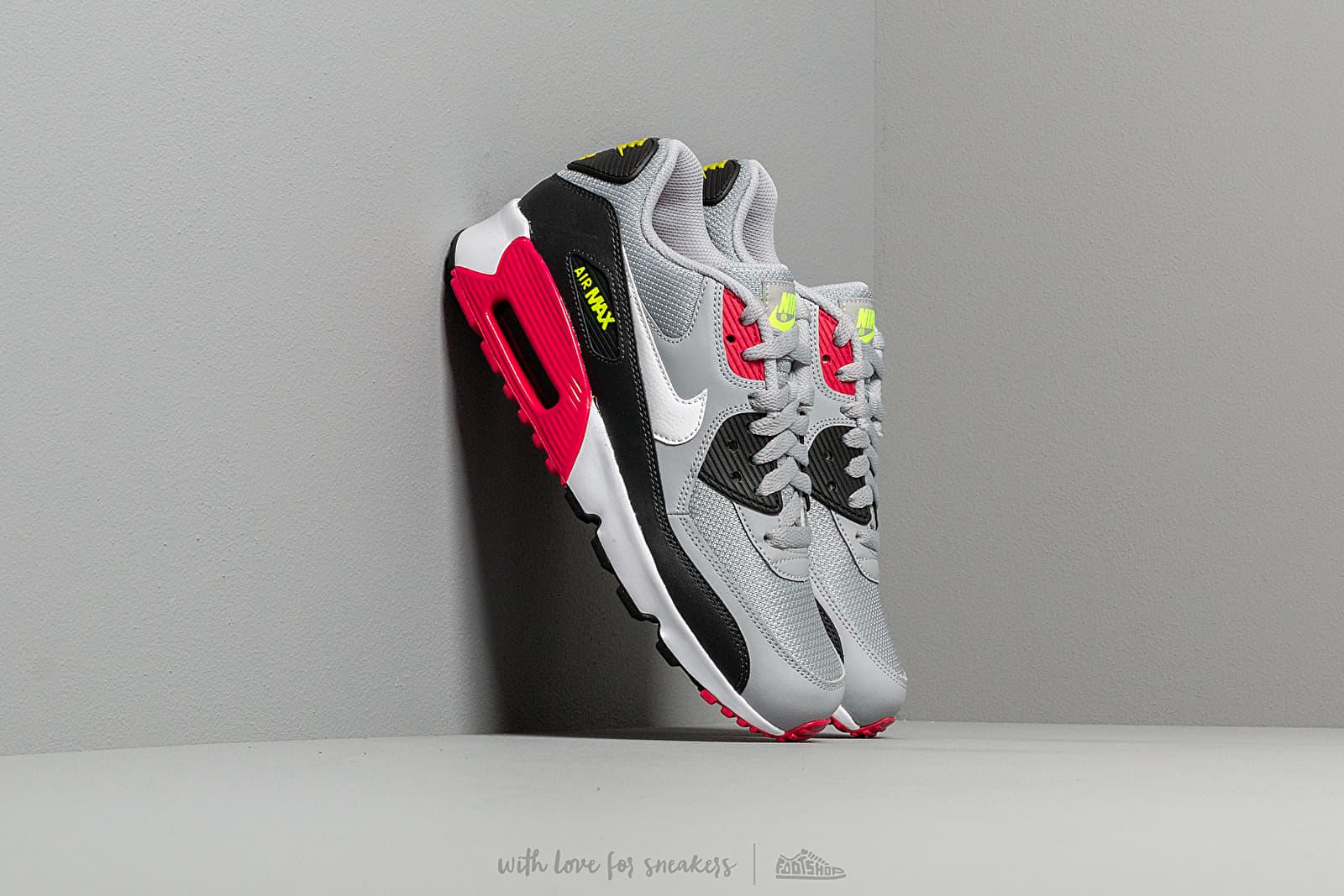 Nike Air Max 90 Mesh (GS) Wolf Grey White Rush Pink Volt | Footshop
