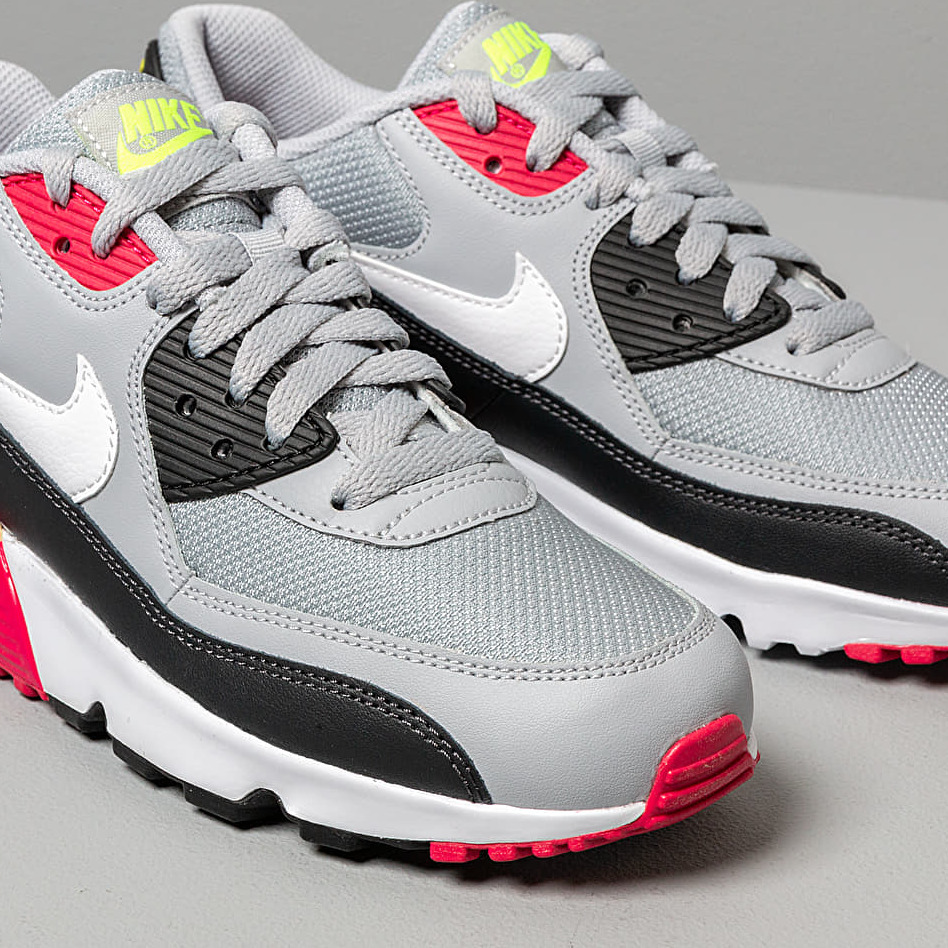 Nike Air Max 90 Mesh (GS) Wolf Grey/ White-Rush Pink-Volt, Gray