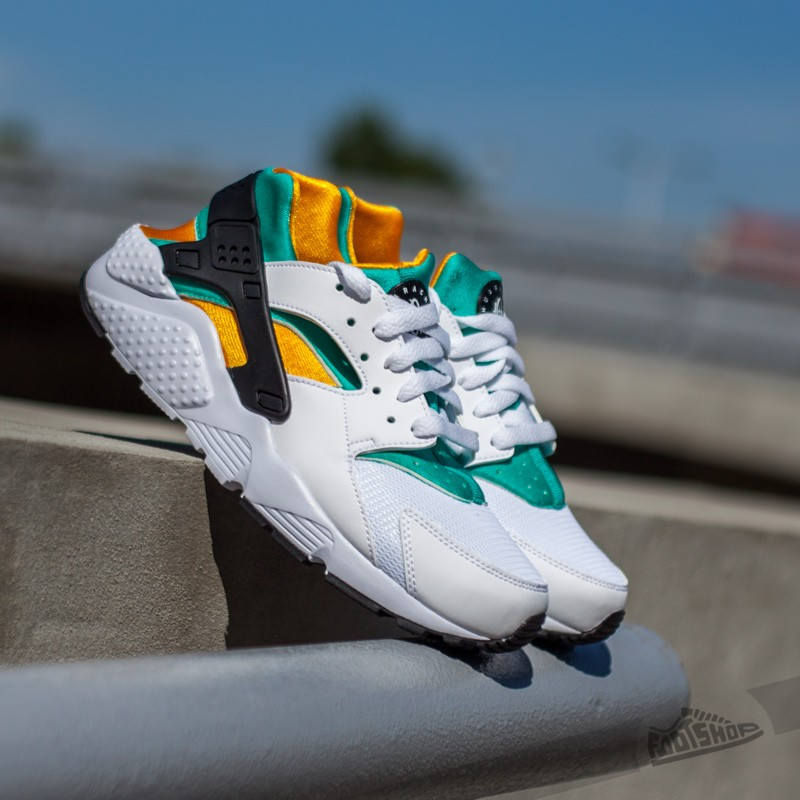newest 29bfb 58501 Nike Huarache Run (GS) White/ Black-New Green-Sundown ...