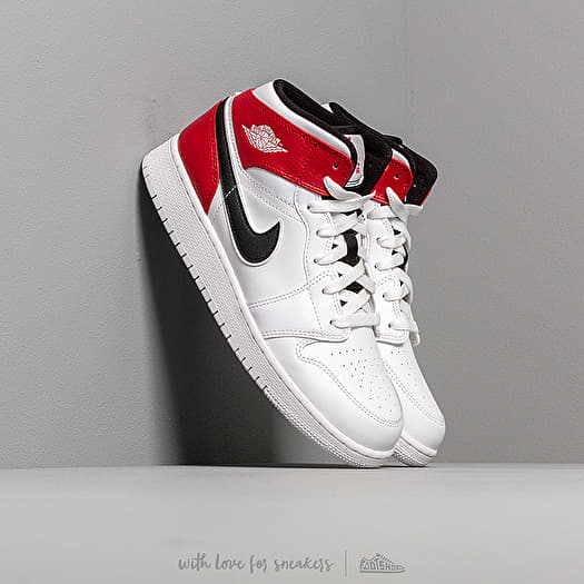 Air Jordan 1 Mid (GS)White Black Gym Red