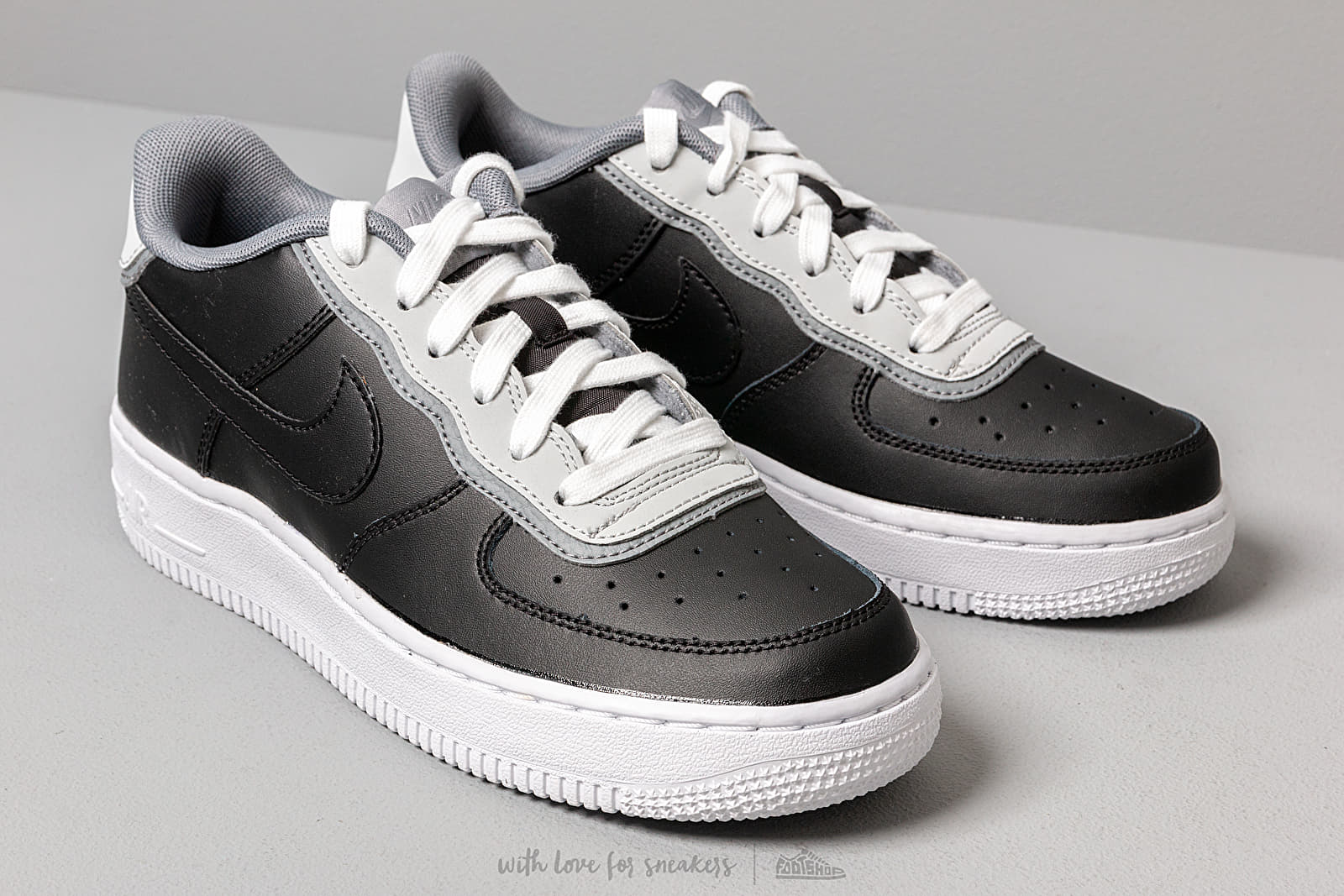 Nike Air Force 1 Lv8 1 Dbl Gs Black Black Pure Platinum Cool Grey | Footshop