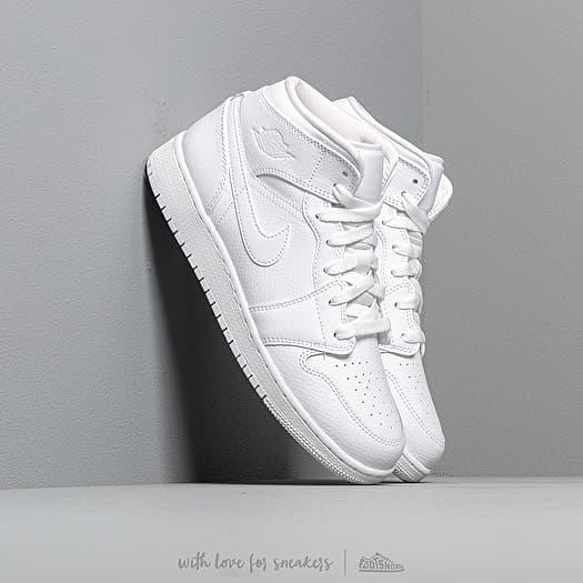 Air Jordan 1 Mid (GS) White/ White-White | Footshop