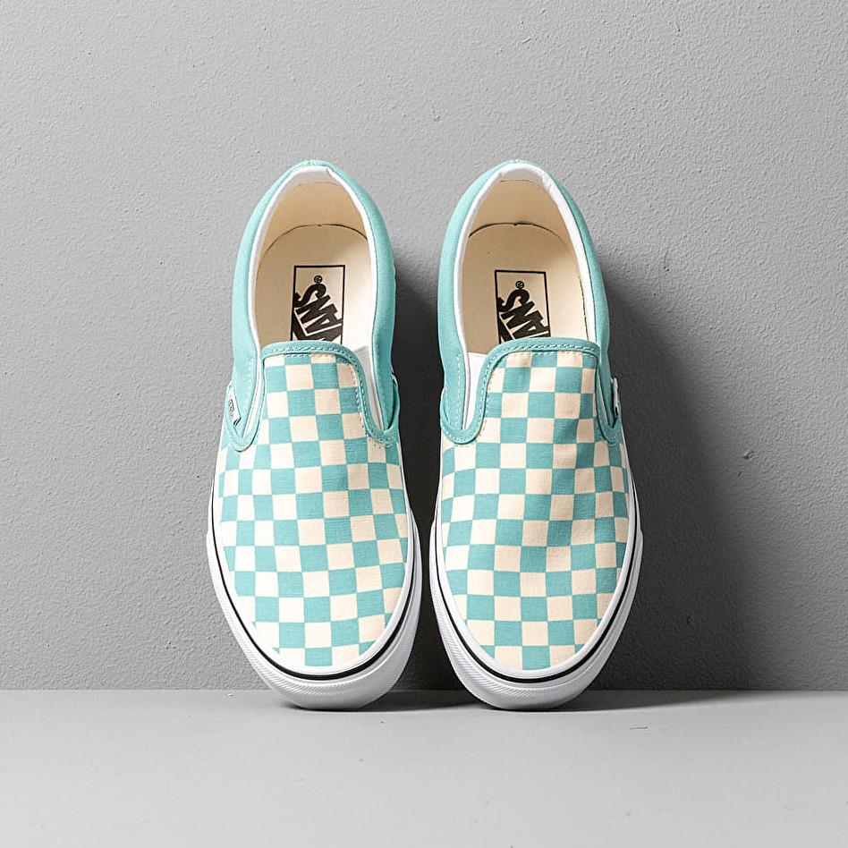 Vans Classic Slip-On (Checkerboardard) Aqua Haze, Blue