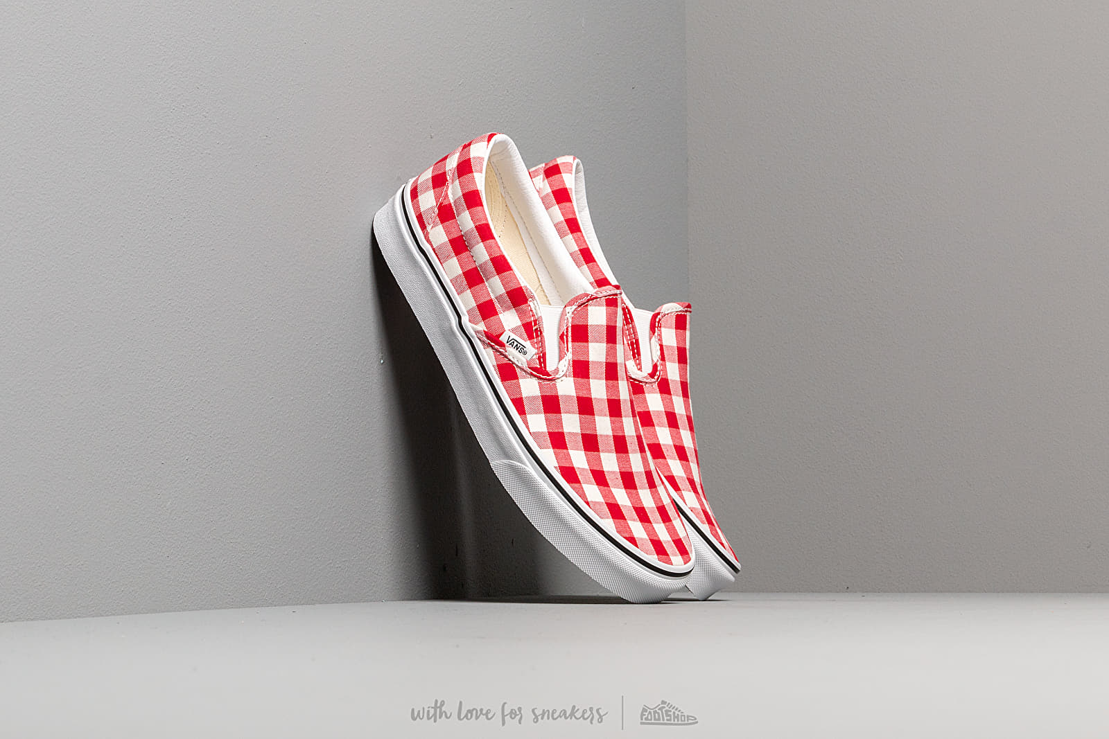 Herren Sneaker und Schuhe Vans Classic Slip-On (Gingham) Racing Red/ True