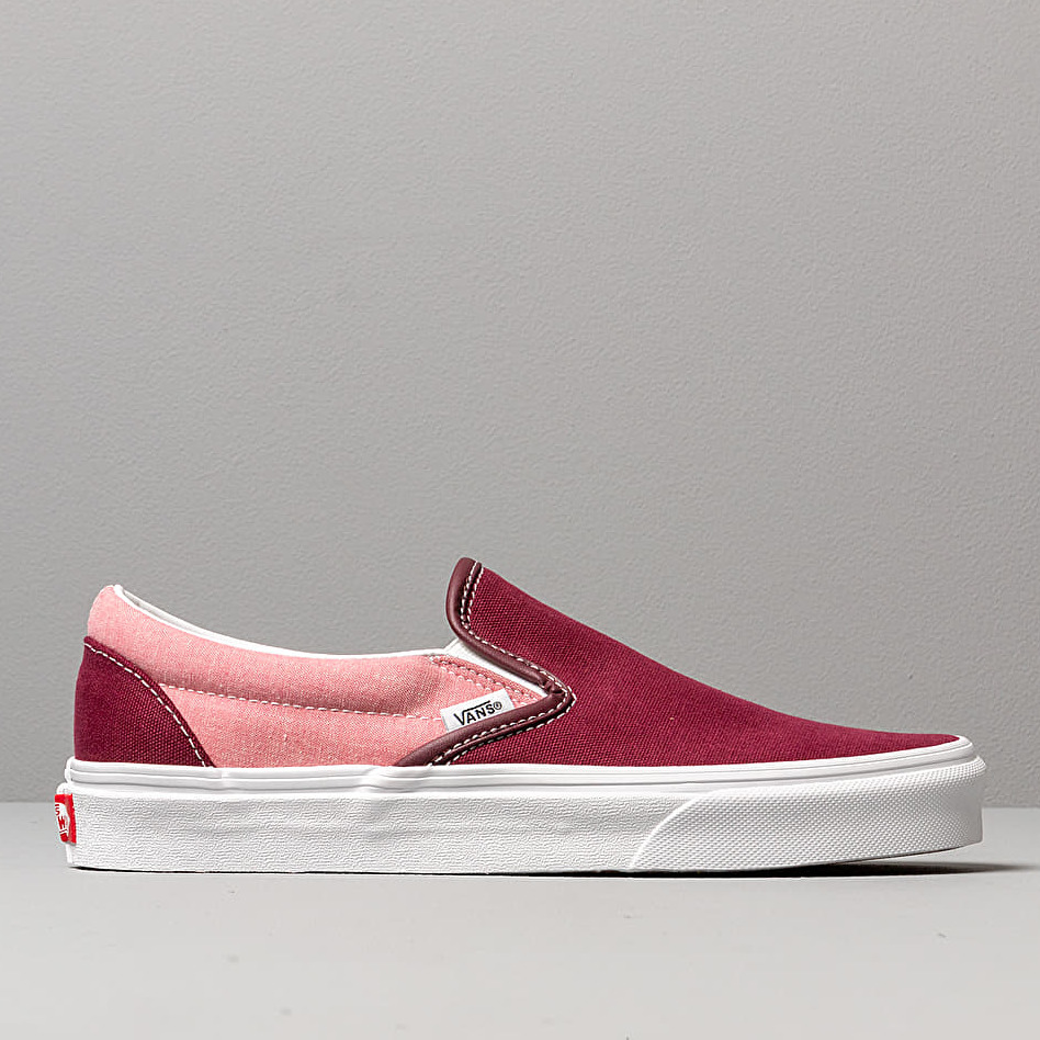 Vans Classic Slip-On (Chambray) Canvas Port, Red