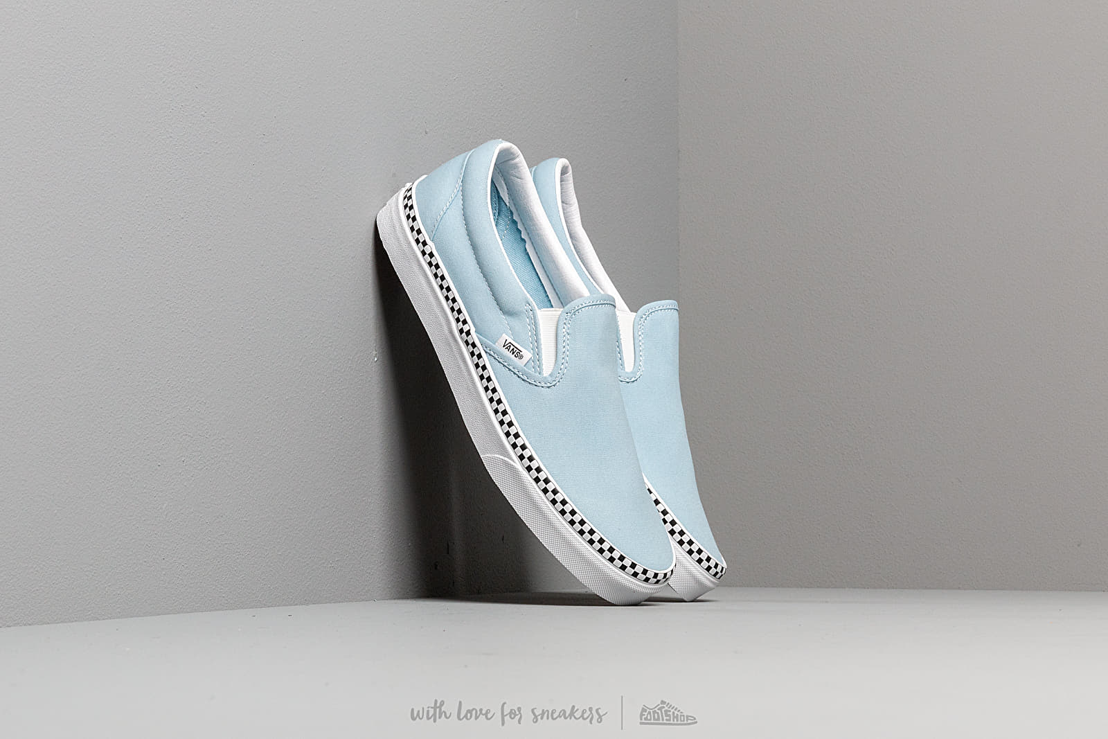 Vans Classic Slip-On (Check Foxing) Cool Blue at a great price $69 buy at Footshop