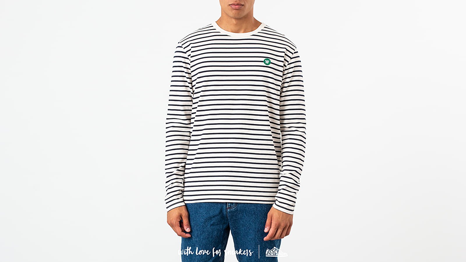 Pólók WOOD WOOD Mel Long Sleeve Tee Off White/ Navy Stripes