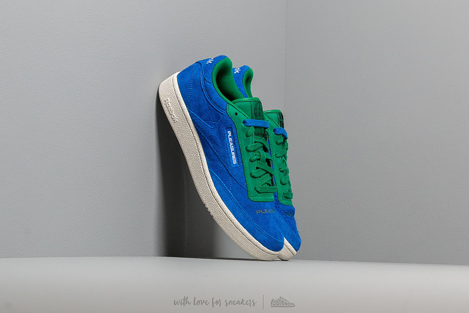 Reebok x Pleasures Club C 85 Vital Blue Green Chalk White