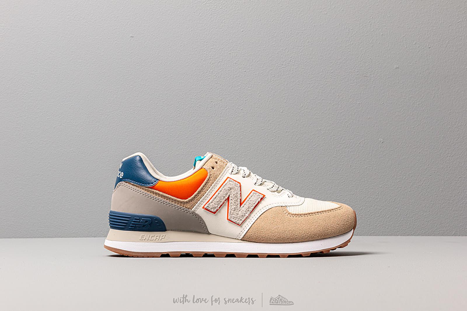 New Balance 574 Beige Blue Orange | Footshop