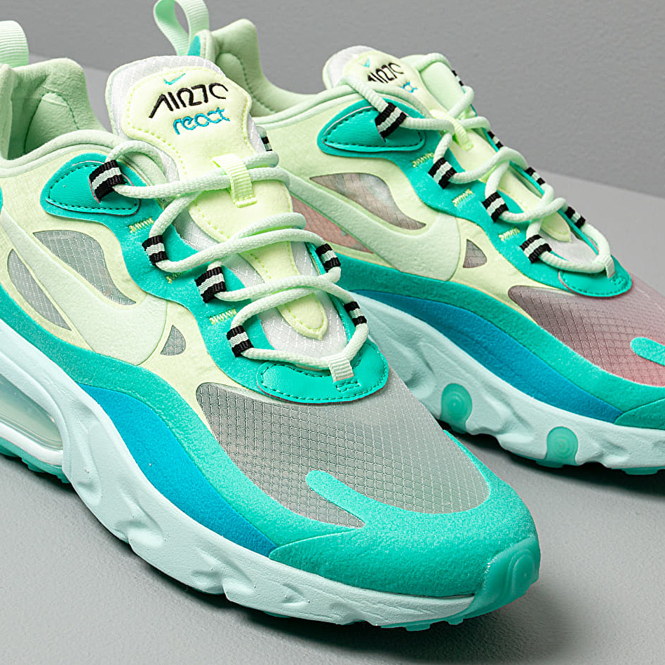 Nike Air Max 270 React Hyper Jade/ Frosted Spruce-Barely Volt, Blue