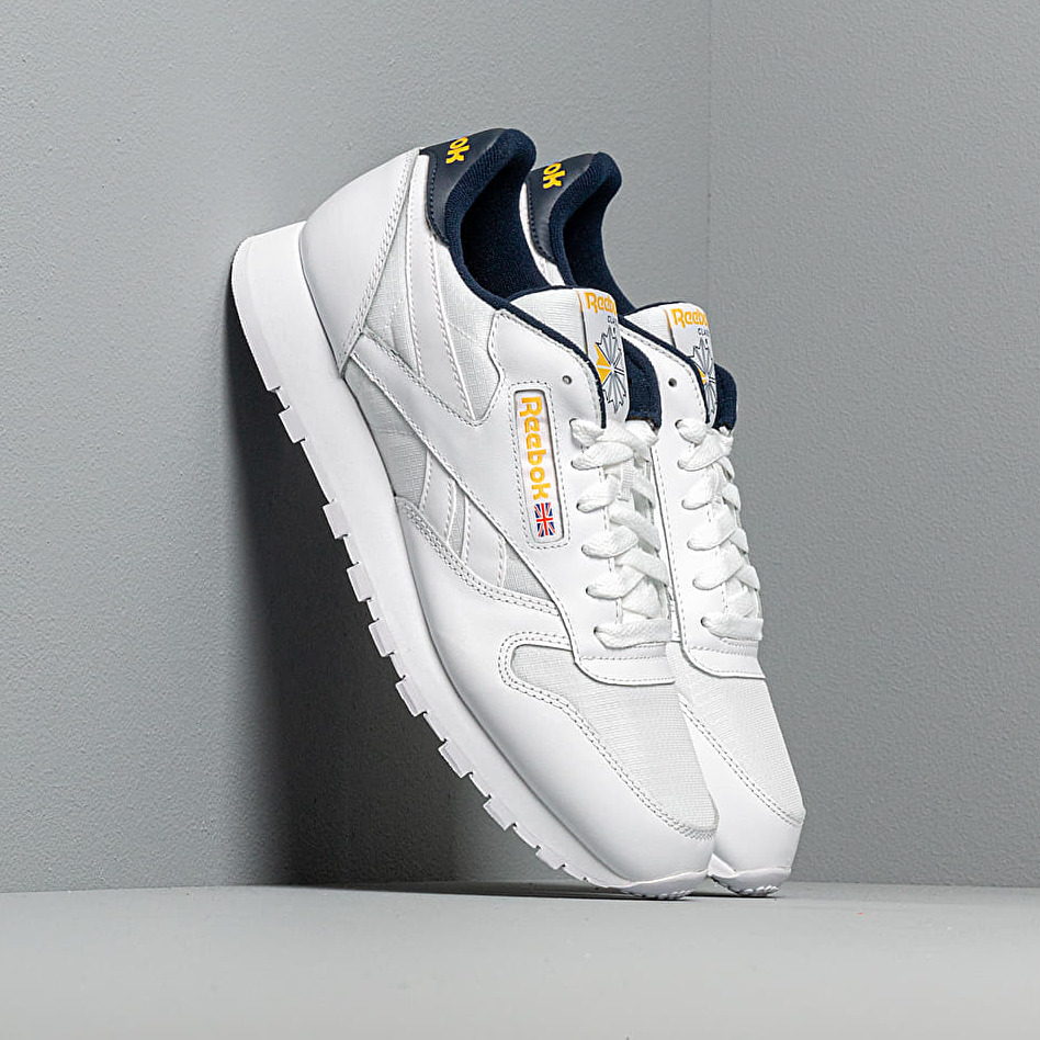 Reebok Classic Leather MU White/ Coll Navy/ Yellow EUR 45