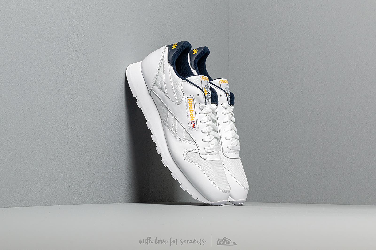 Pánské tenisky a boty Reebok Classic Leather MU White/ Collegiate Navy/ Yellow
