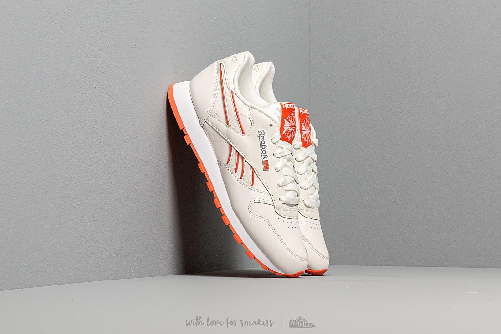 Dámské tenisky a boty Reebok CL Leather Chalk/ Fiery Orange/ White