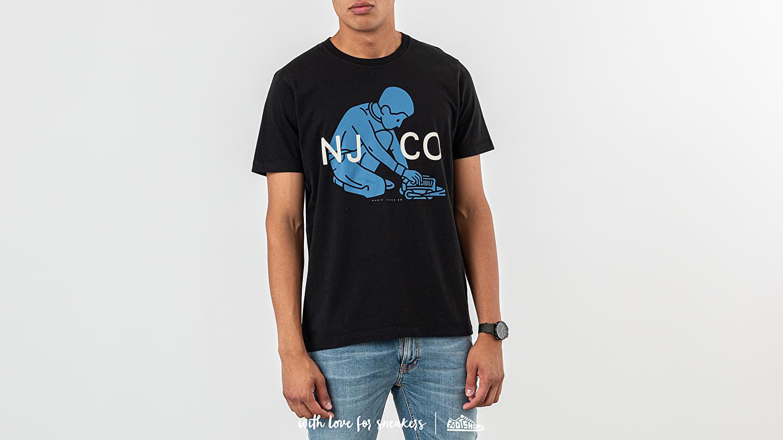 Trička Nudie Jeans Blue Logo Boy Tee Black