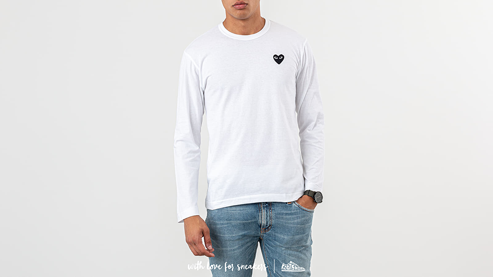 T-shirts Comme des Garçons PLAY Long Sleeve Tee White