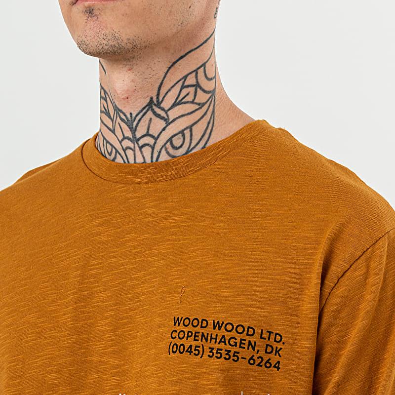 WOOD WOOD Peter Longsleeve Tee Mustard, Brown