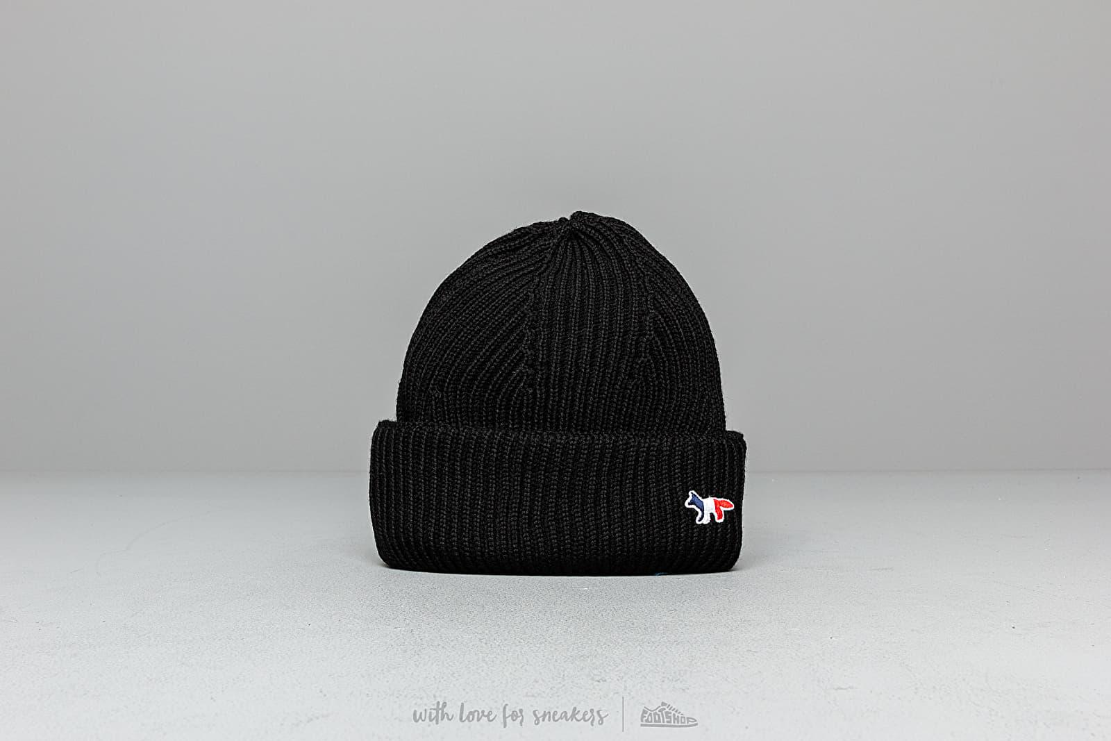 Čiapky MAISON KITSUNÉ Tricolor Fox Patch Ribbed Hat Black