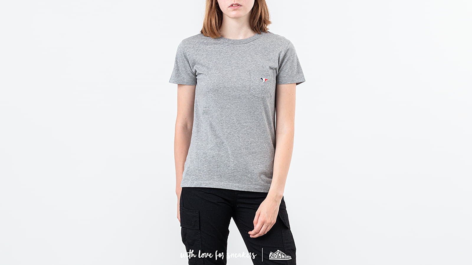 T-shirts MAISON KITSUNÉ Fox Patch Tee Grey Melange