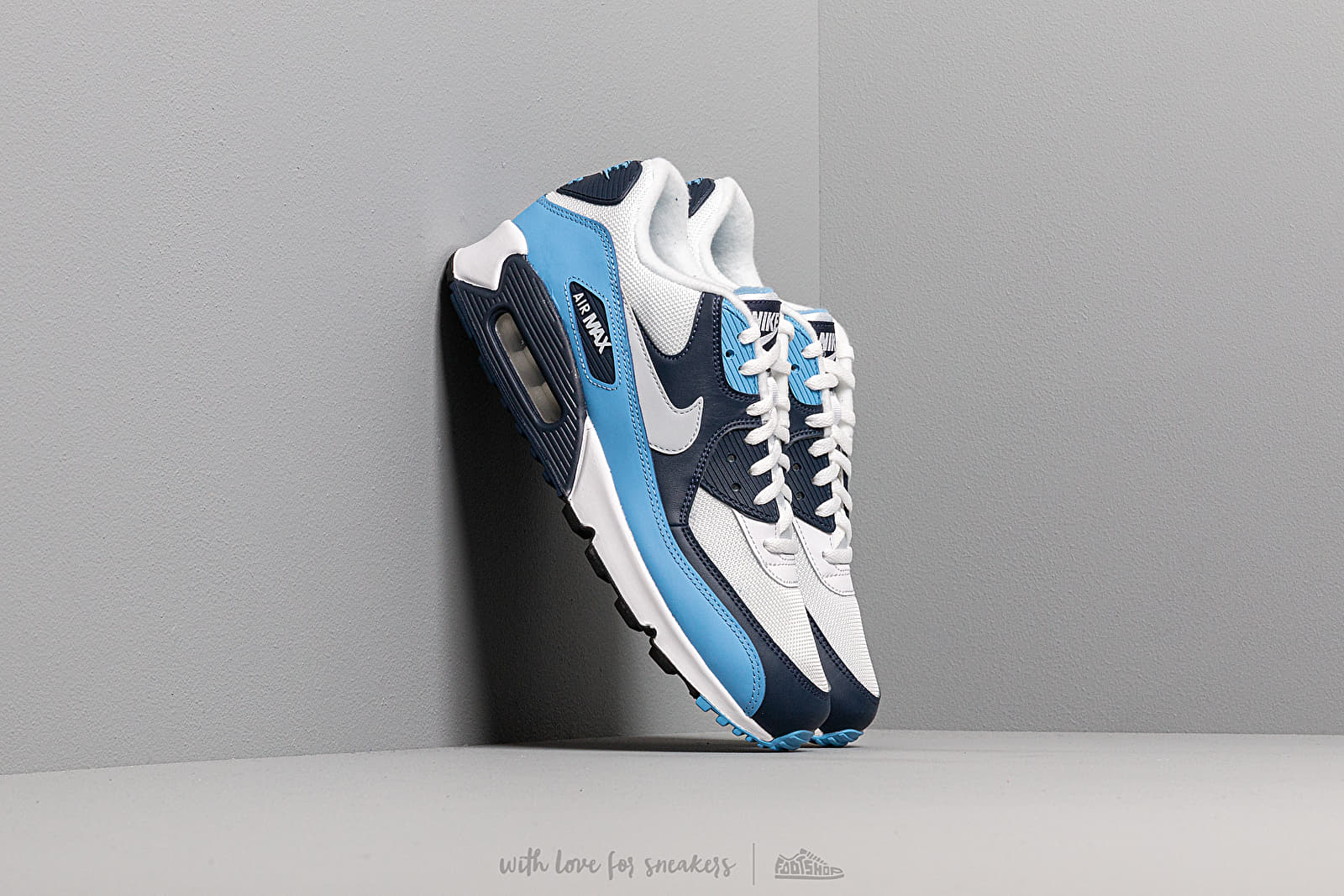 Nike Air Max 90 Essential White Pure Platinum University Blue | Footshop