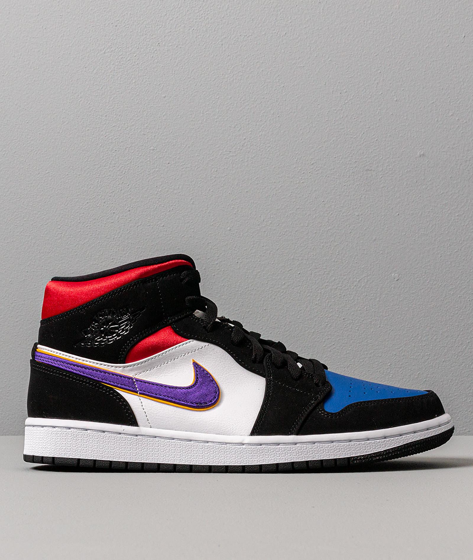 Air Jordan 1 Mid Se Black/ Field Purple-White-Gym Red