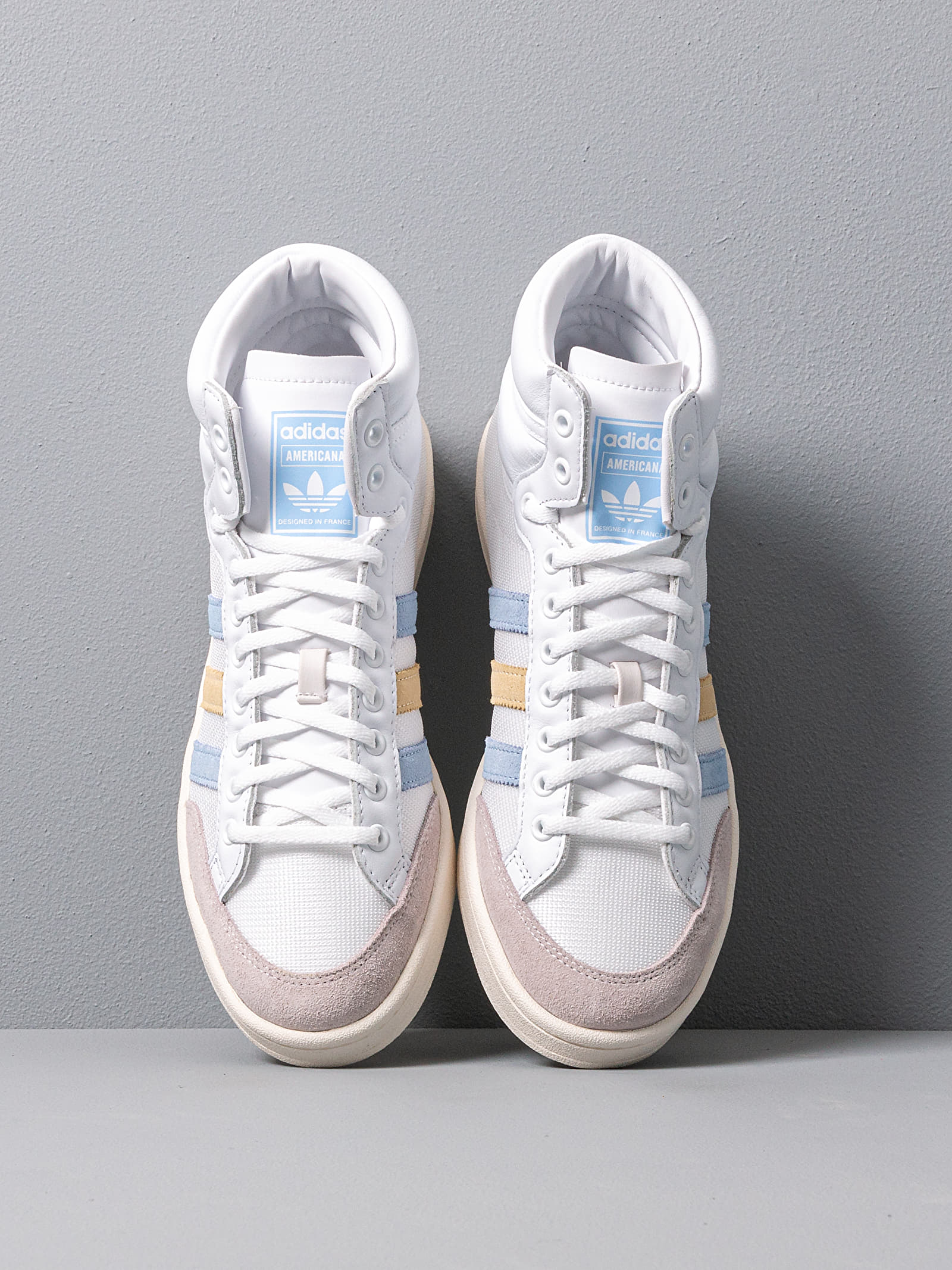 bofetada silencio solar  Men's shoes adidas Americana Hi Ftw White/ Glow Blue/ Easy Yellow | Footshop
