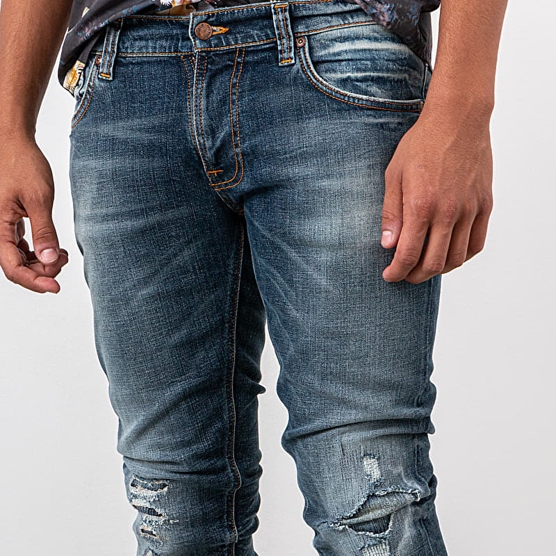 Nudie Jeans Tight Terry Worn Repaired, Blue