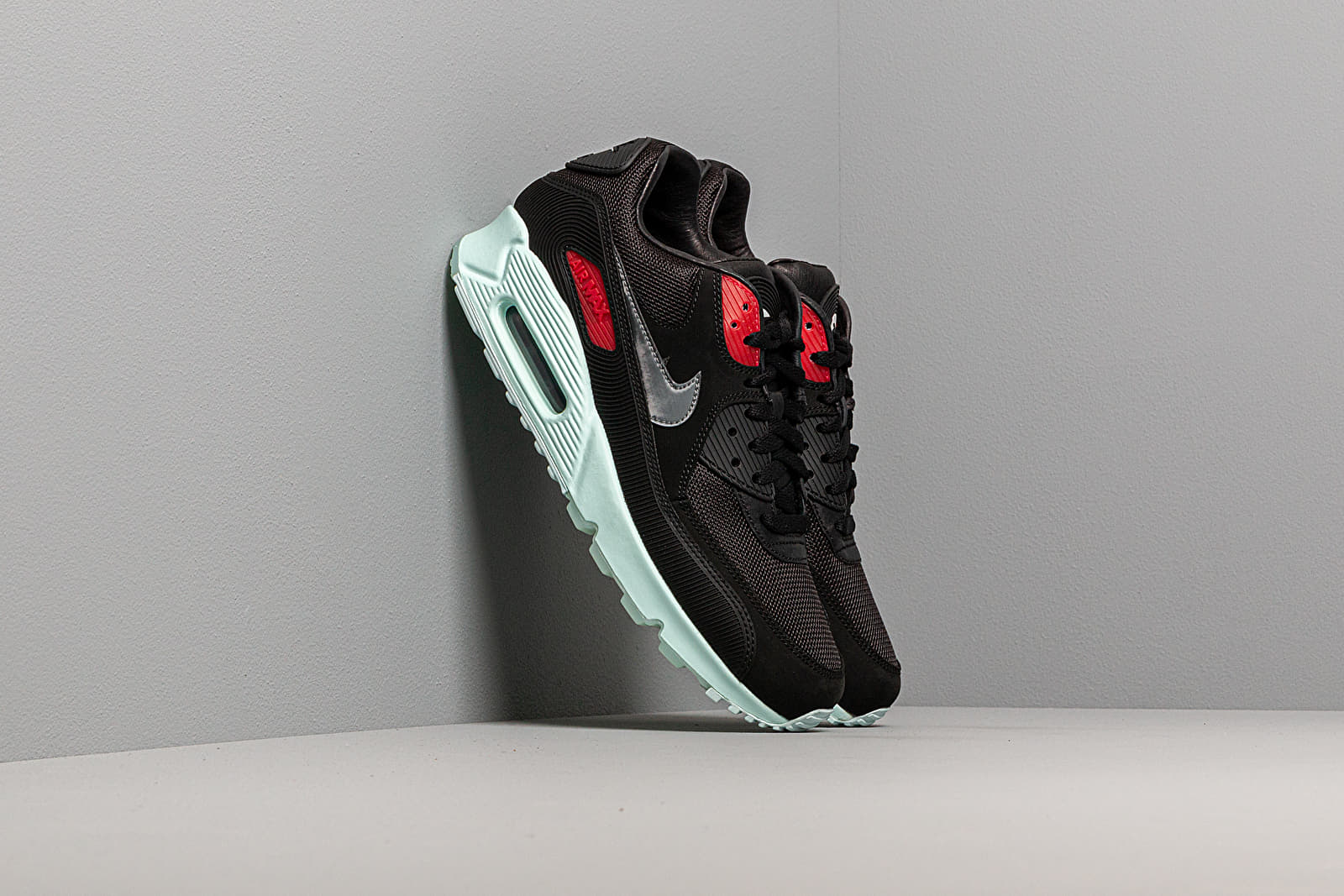 Nike Air Max 90 Premium Black Cool Grey Teal Tint University Red | Footshop