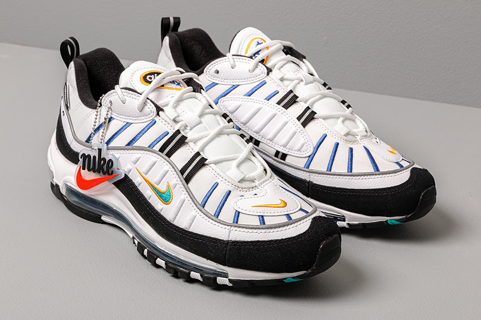 Nike Wmns Air Max 98 Premium White Teal Nebula University Gold Black | Footshop