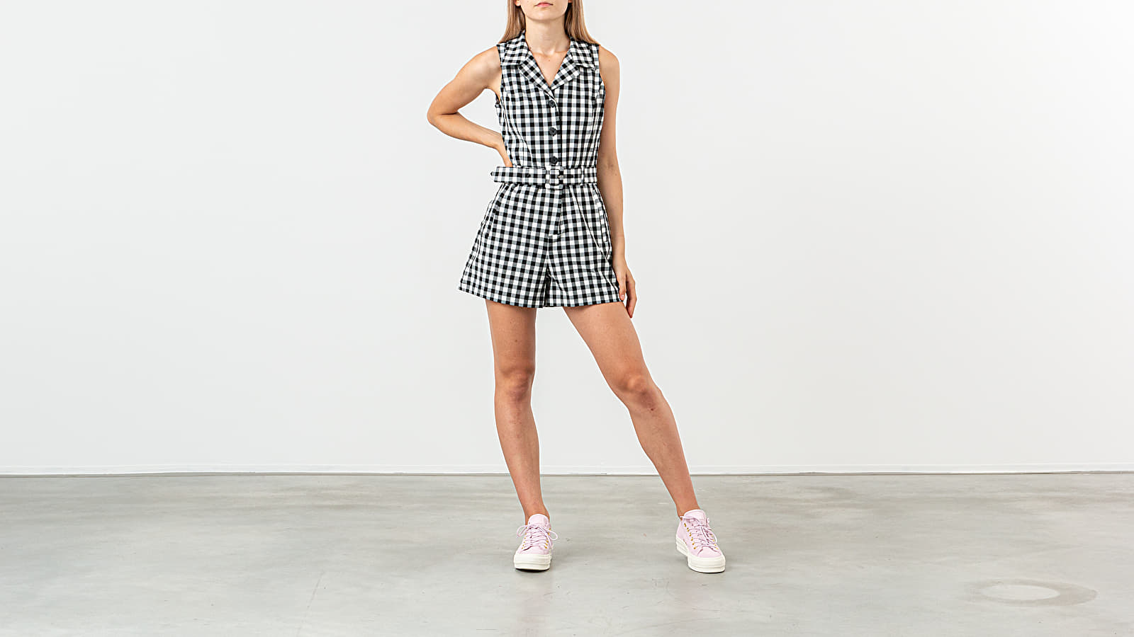 Robes Lazy Oaf Gingham Role Playsuit Grey