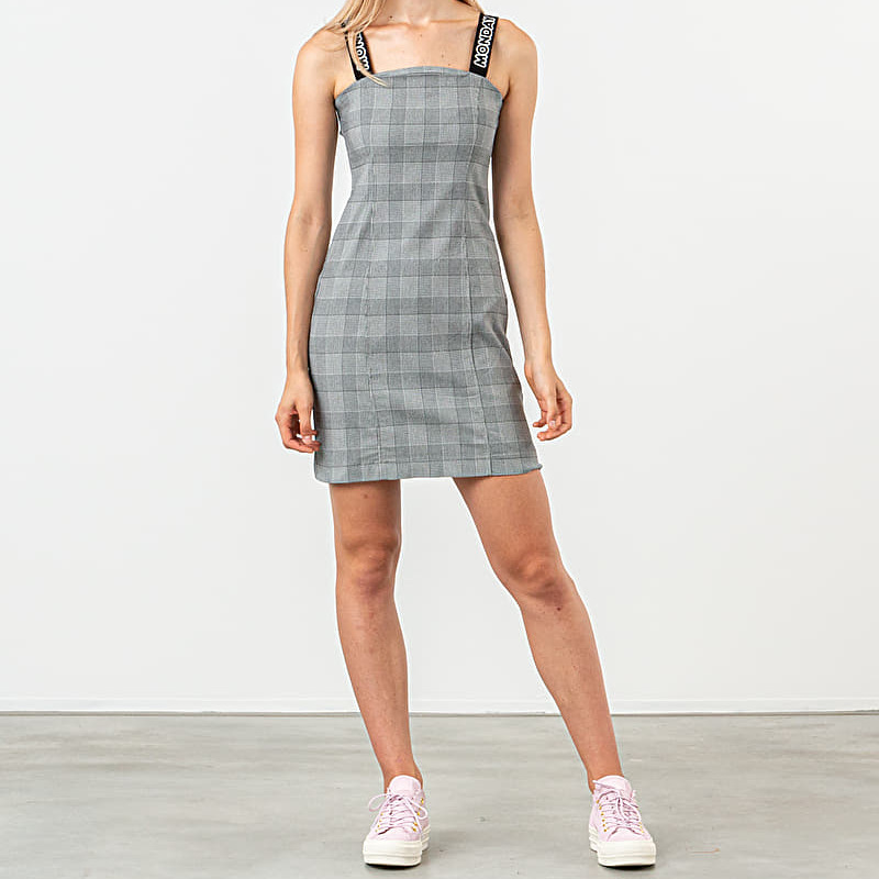 Lazy Oaf Here All Week Check Dress Grey