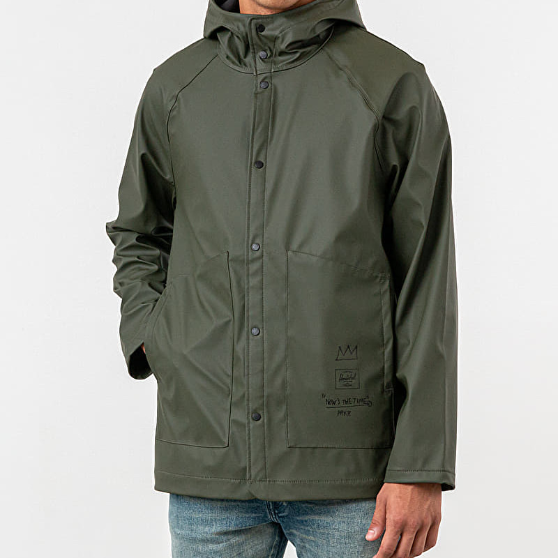Herschel Supply Co x JeanMichel Basquiat Rainwear Jacket Dark Olive Record