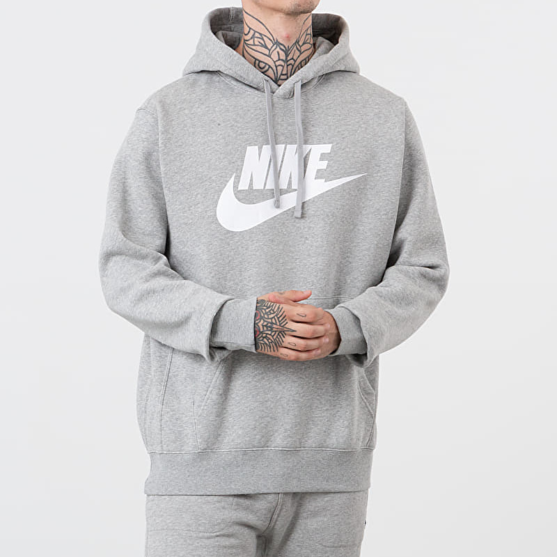 Nike Sportswear Baseball GX Club Hoodie Dk Grey Heather/ Matte Silver/ White, Gray