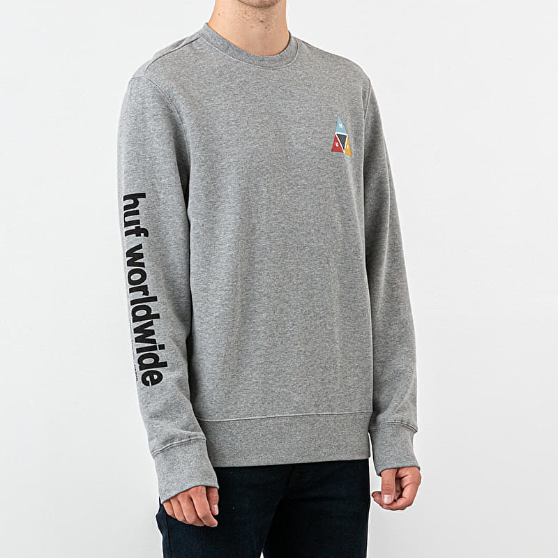 HUF Prism Crewneck Grey Heather, Gray
