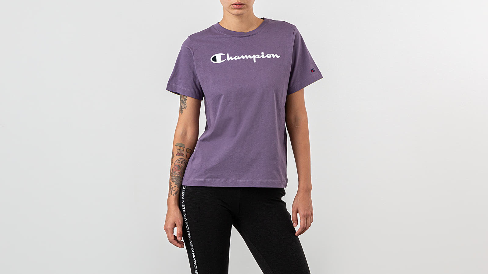 Champion Script Logo Print Drop Shoulder Tee