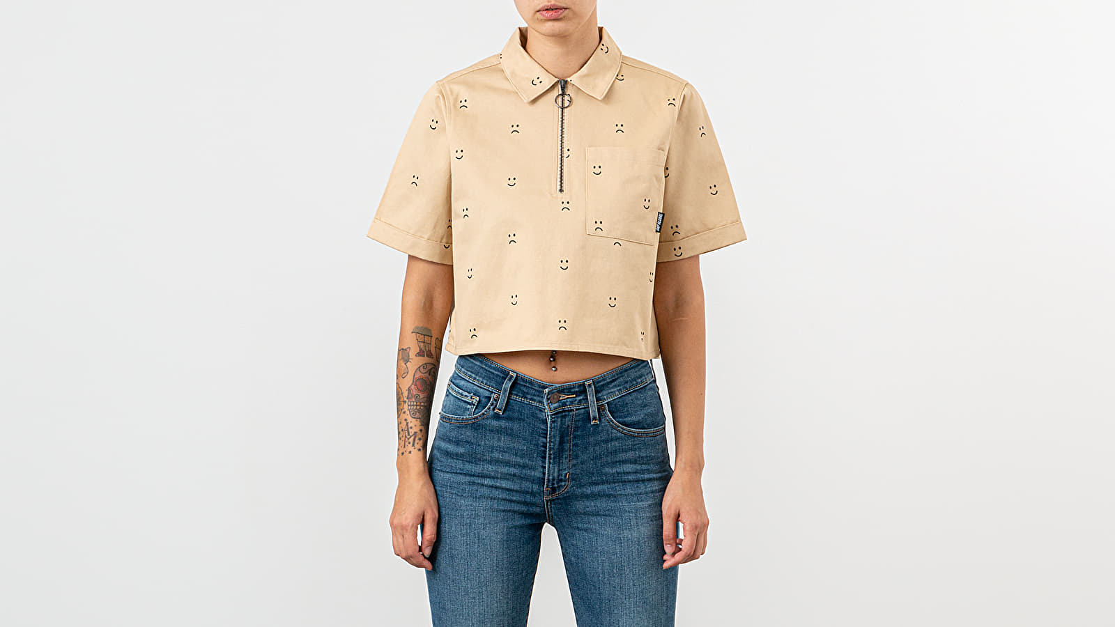 Lazy Oaf Happy Sad Cropped Zip Shirt