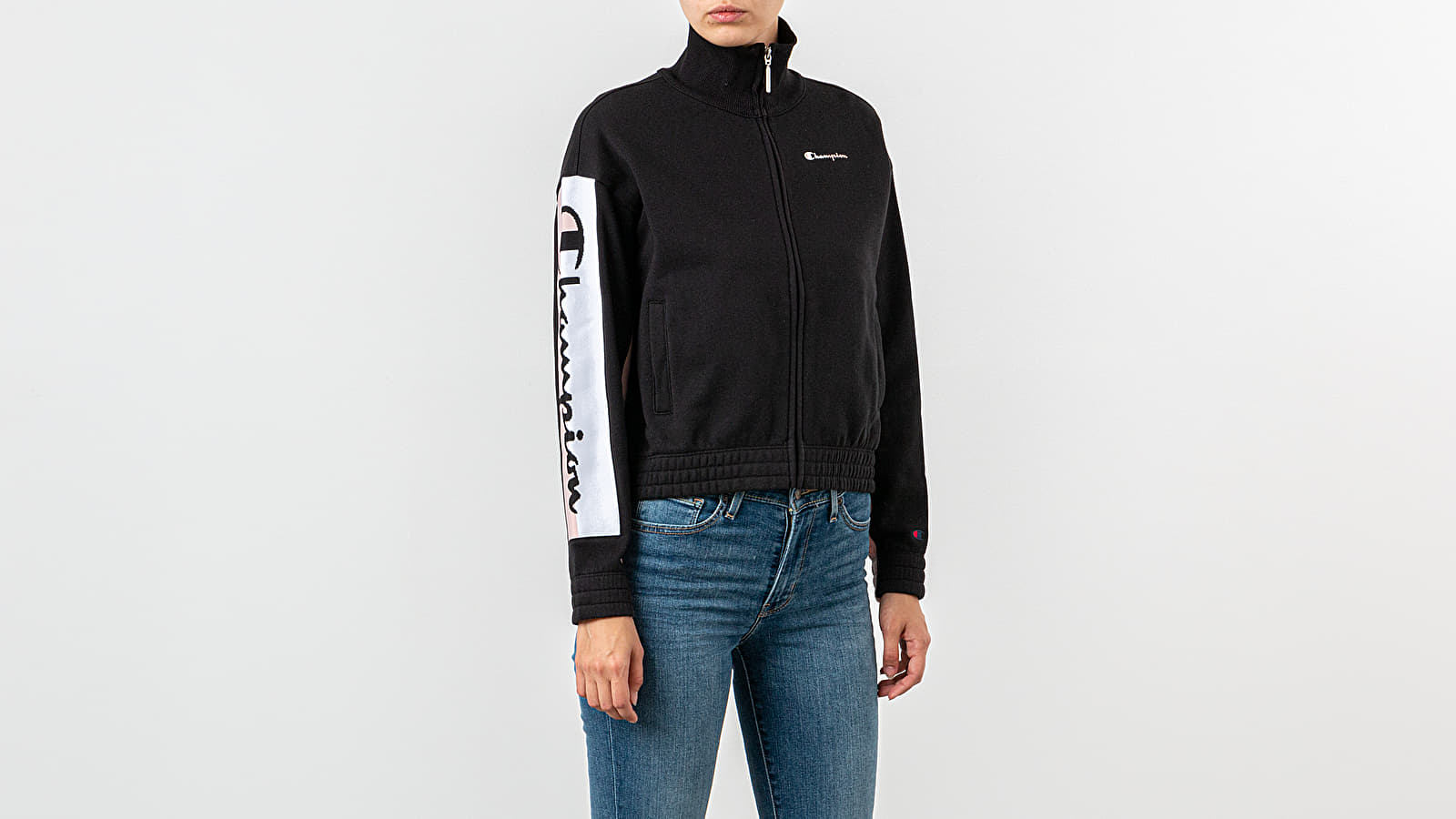 Sweatshirts Champion Track Jacket Black/ Pink