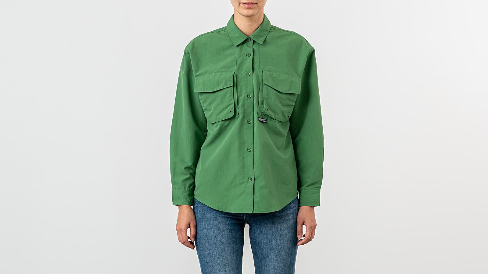 Chemises Stussy Range Outdoor Long Sleeve Shirt Green