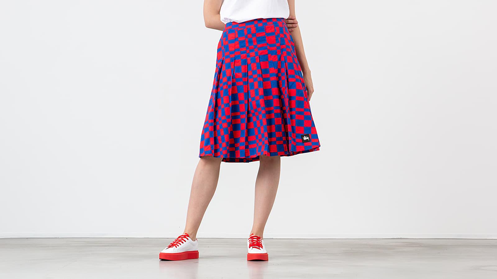 Jupes Stüssy Sabi Checker Pleated Skirt Red/ Blue
