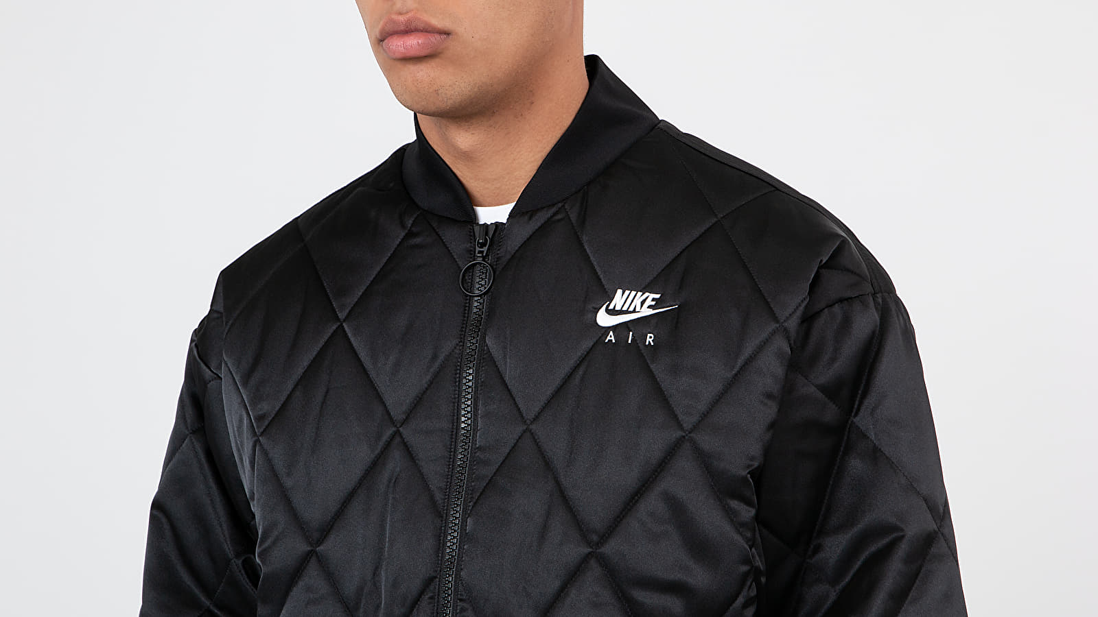 Nike Sportswear Air Syn Fill Satin Jacket Black Black White | Footshop