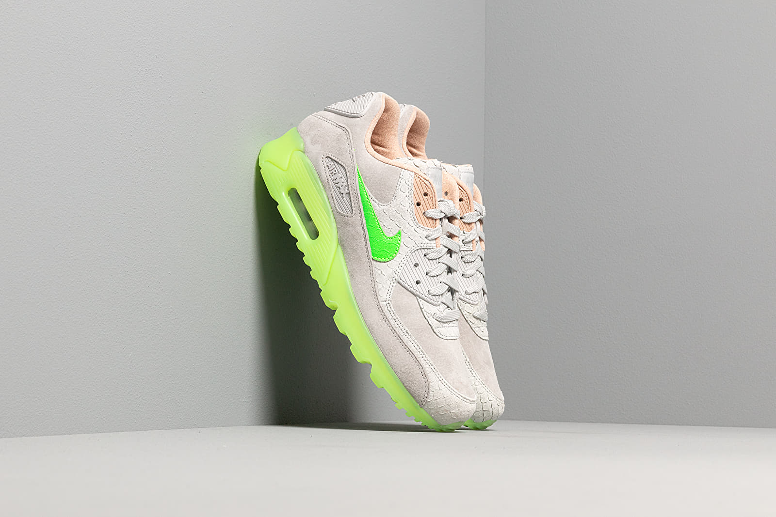 Nike Air Max 90 Premium Pure Platinum Electric Green Bio Beige | Footshop