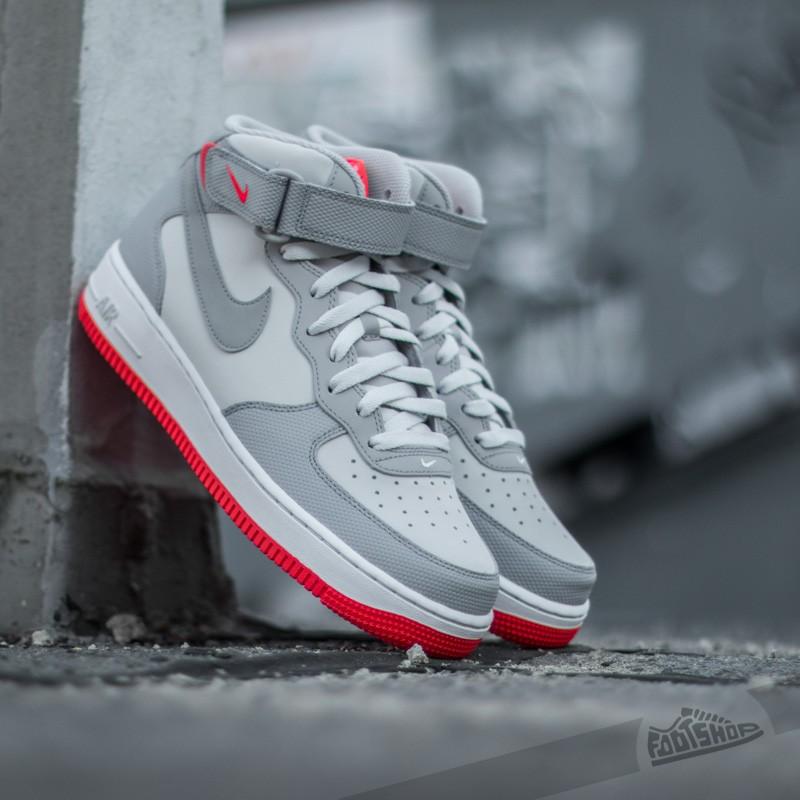 sale retailer 8a6ad 1211b Nike Air Force 1 Mid ´07 Premium. Platinum  Wolf Grey-Bright Crimson