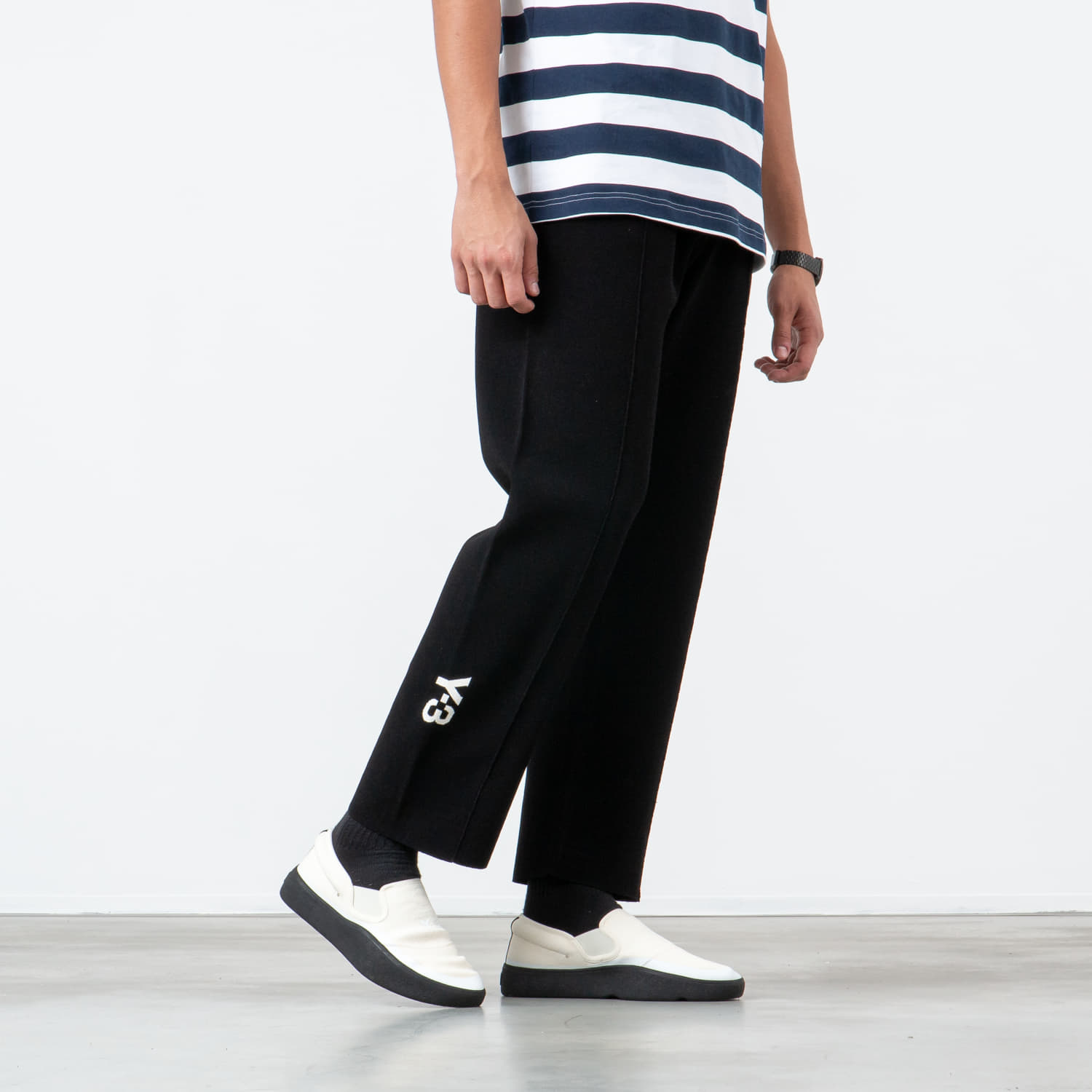 Hlače in kavbojke Y-3 Tech Knit Wide Pants Black/ Ecru